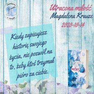 Utracona miłość Magdaleny Krauze – zapowiedź patronacka